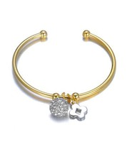 Designer Style Pave CZ Crystals Eternity Ball Clover Charms Gold Cuff Br... - €20,96 EUR