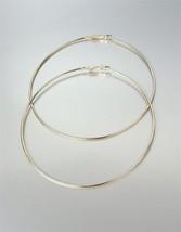 """CHIC Lightweight Thin Gold Metal LARGE 3 1/2"""" Diameter Hoop Post Earrings - $14.99"""