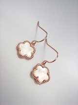 ELEGANT 18kt Rose Gold Plated Mother Pearl Shell CLOVER Petite Dangle Ea... - $16.99