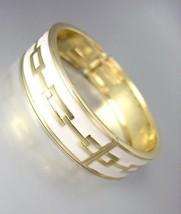 CLASSIC Designer Style Gold White Lacquer Enamel Chain Hinged Bangle Bra... - $15.98
