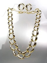 CLASSIC Graduated GOLD Metal Hammered Texture Chain Chains Necklace Set - $15.98