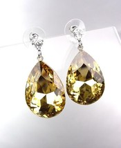 GLITZY SPARKLE Brown Topaz Tear Drop Crystal Bridal Queen Pageant Post Earrings - $15.04