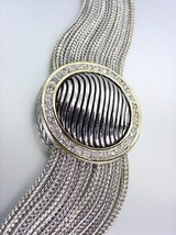 Designer Style Silver Cable Gold CZ Crystals Chains Magnetic Clasp Bracelet - $32.91
