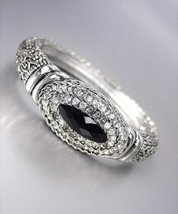 Designer Style Silver BALINESE Weave Cable Dots Black Onyx CZ Crystals B... - $29.99