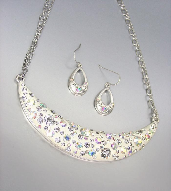 Primary image for SPARKLE Iridescent AB CZ Crystals Off White Resin Necklace Earrings Set