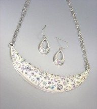 SPARKLE Iridescent AB CZ Crystals Off White Resin Necklace Earrings Set - $20.68