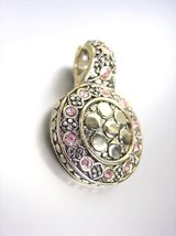 Gorgeous Designer Style Balinese Silver Gold Dots Pink Rose Cz Crystals Pendant - $19.99