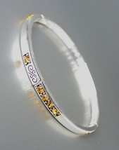 NEW Brighton Bay Silver Filigree Brown Topaz CZ Crystals Stretch Bracelet #39 - $9.40