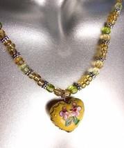 DECORATIVE Yellow Multi Cloisonne Enamel Floral Heart Pendant Necklace - $12.22