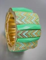 EXPRESSIVE Aqua Blue Green Acrylic Crystals Chevron Enamel Gold Stretch Bracelet - $9.99