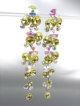 STUNNING Lemon Yellow Iridescent Czech Crystals WATERFALL Dangle Earrings - $31.03