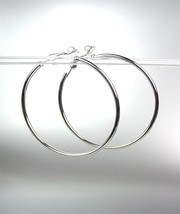 "Classic Lightweight Silver Metal Round 2"" Diameter Clip On Hoop Earrings - $12.99"