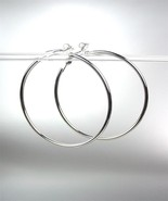 "CLASSIC Lightweight SILVER Metal Round 2"" Diameter CLIP ON Hoop Earrings - £9.97 GBP"