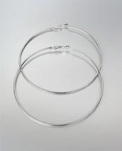 """CHIC Lightweight Thin Silver Metal LARGE 3 1/2"""" Diameter Hoop Post Earrings - $14.99"""