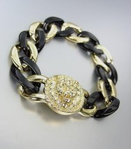 CHIC Designer Chunky Gold Metal Black Lucite Chain LEO LION Medallion Br... - €18,30 EUR