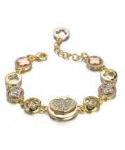 Designer Style Gold Rose Copper Heart Clover Clovers CZ Crystals Links B... - €23,30 EUR