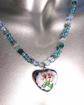 DECORATIVE White Blue Multi Cloisonne Enamel Floral Heart Pendant Necklace - $12.22