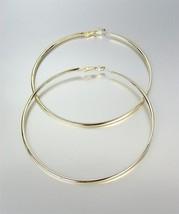 "CHIC GOLD Metal Flat Front Round Large 3 3/8"" Diameter Hoop Post Earrings - $14.10"