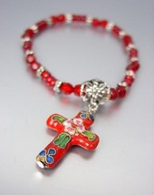 DECORATIVE Red Multi Cloisonne Enamel Cross Charm Beads Stretch Bracelet - €8,22 EUR