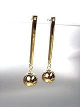 CHIC & UNIQUE Lightweight Gold Metal Ball CZ Crystal Long Dangle Post Earrings - $15.99