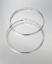 """CHIC Silver Metal Flat Front Round Large 3 3/8"""" Diameter Hoop Post Earrings - $14.10"""
