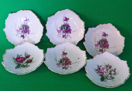 "Set Of 6 Small Floral Porcelain Leaf-Shaped Sauce Dishes Marked ""Japan"" - $8.95"