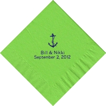 50 PERSONALIZED anchor printed Luncheon dinner NAPKINS with names or event - $11.95+