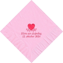 50 PERSONALIZED single heart printed Luncheon dinner NAPKINS with names or event - $11.95+