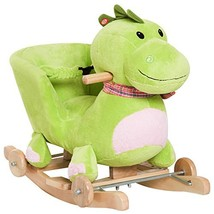 Qaba Kids Interactive 2-in-1 Plush Ride-On Stroller Rocking Dinosaur wit... - $65.06