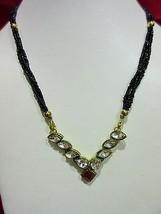 Indian Traditional  Kundan Pendant Bridal Mangalsutra Necklace Earrings Set image 2
