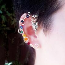 Rainbow Crystal Vine Ear Cuff  Wrap Fairy - $25.00