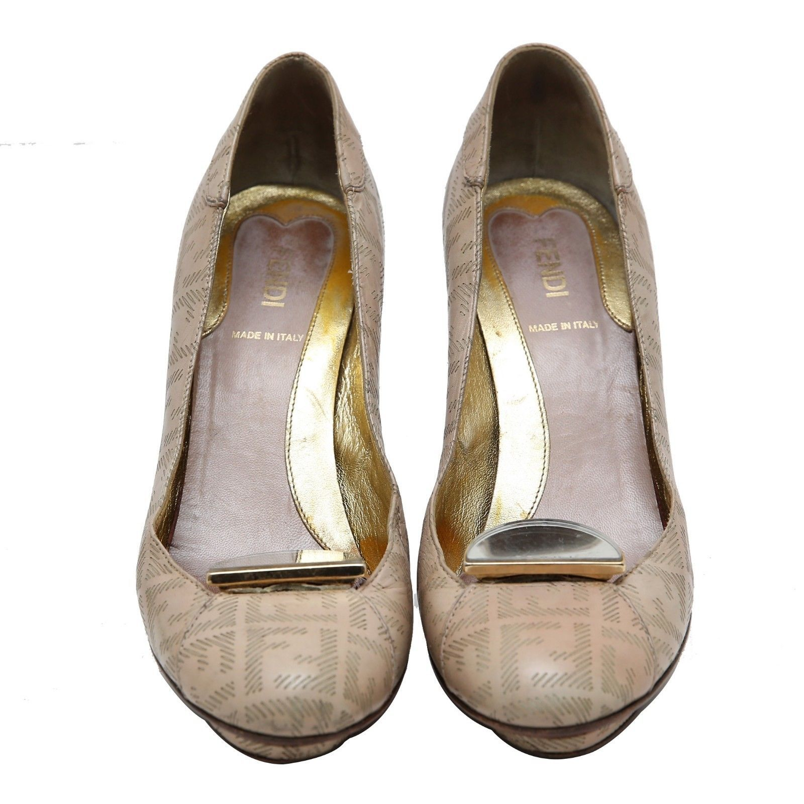 Primary image for Authentic FENDI Nude Pink Monogram Leather Pumps Slip On Size 37 US 6.5 UK 4