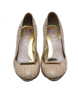 Authentic FENDI Nude Pink Monogram Leather Pumps Slip On Size 37 US 6.5 ... - $182.33