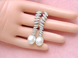 VINTAGE 2.83ctw DIAMOND 11mm SOUTH SEA PEARL STATEMENT COCKTAIL EARRINGS... - $5,503.41