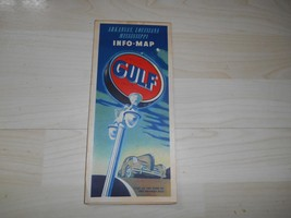 Old Vtg 1940's GULF OIL INFO-MAP ROAD STREET Arkansas Louisiana Mississippi - $18.80