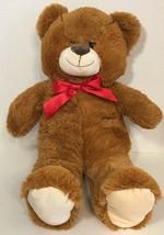 Kellytoy Teddy Bear plush stuffed animal brown beige tan cream red bow ribbon - $17.81
