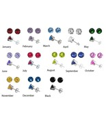 """Birthstone Earrings   Silver  3.1 mm CZ Stud 12 PAIR for only $33.99 """"SALE - $33.31"""