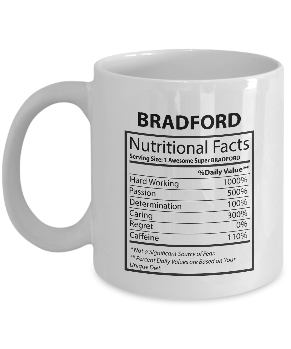 Our name is Mud mugs For kids - BRADFORD Nutritional Facts-  Perfect gift For Hu