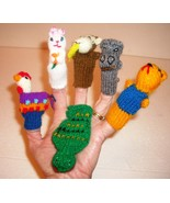 Hand Knitted Finger Puppets 6 pieces Animals, Preschool Sing-a-long Pret... - $9.89