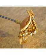 Antique Victorian Hat Pin 3 Leaf Clover Open Mount Rhinestones Art Nouve... - $175.00