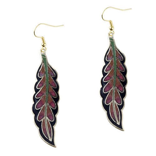 Pugster Black And Red Willow Leaf Fish Hook Earrings