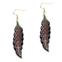 Pugster Black And Red Willow Leaf Fish Hook Earrings  - $15.49