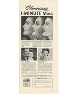 1941 Vintage Ad Pond's Vanishing Cream, Glamorizing 1-Minute Mask - $8.99