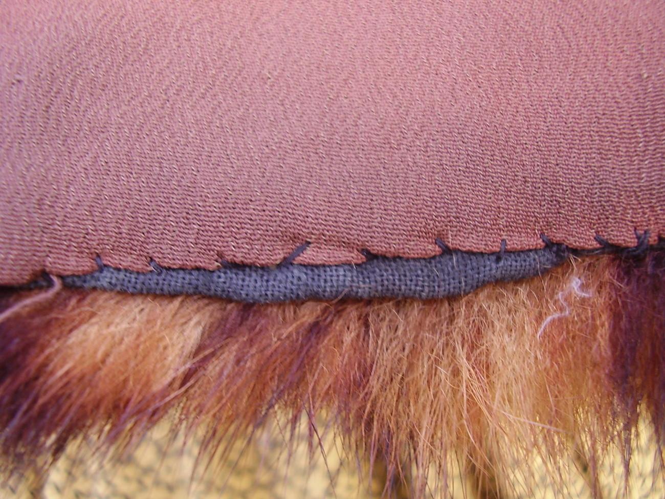 Civil War Dress Fur Wrap Mink Victorian Cape Collar Shawl w/ Vtg Cameo Stick Pin