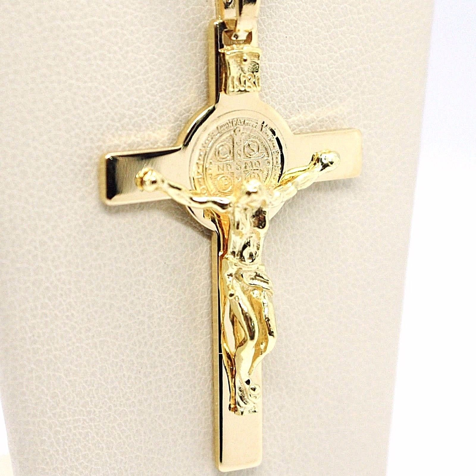 18K YELLOW GOLD CROSS, JESUS & SAINT BENEDICT MEDAL, BIG 2.1 INCHES, ITALY MADE