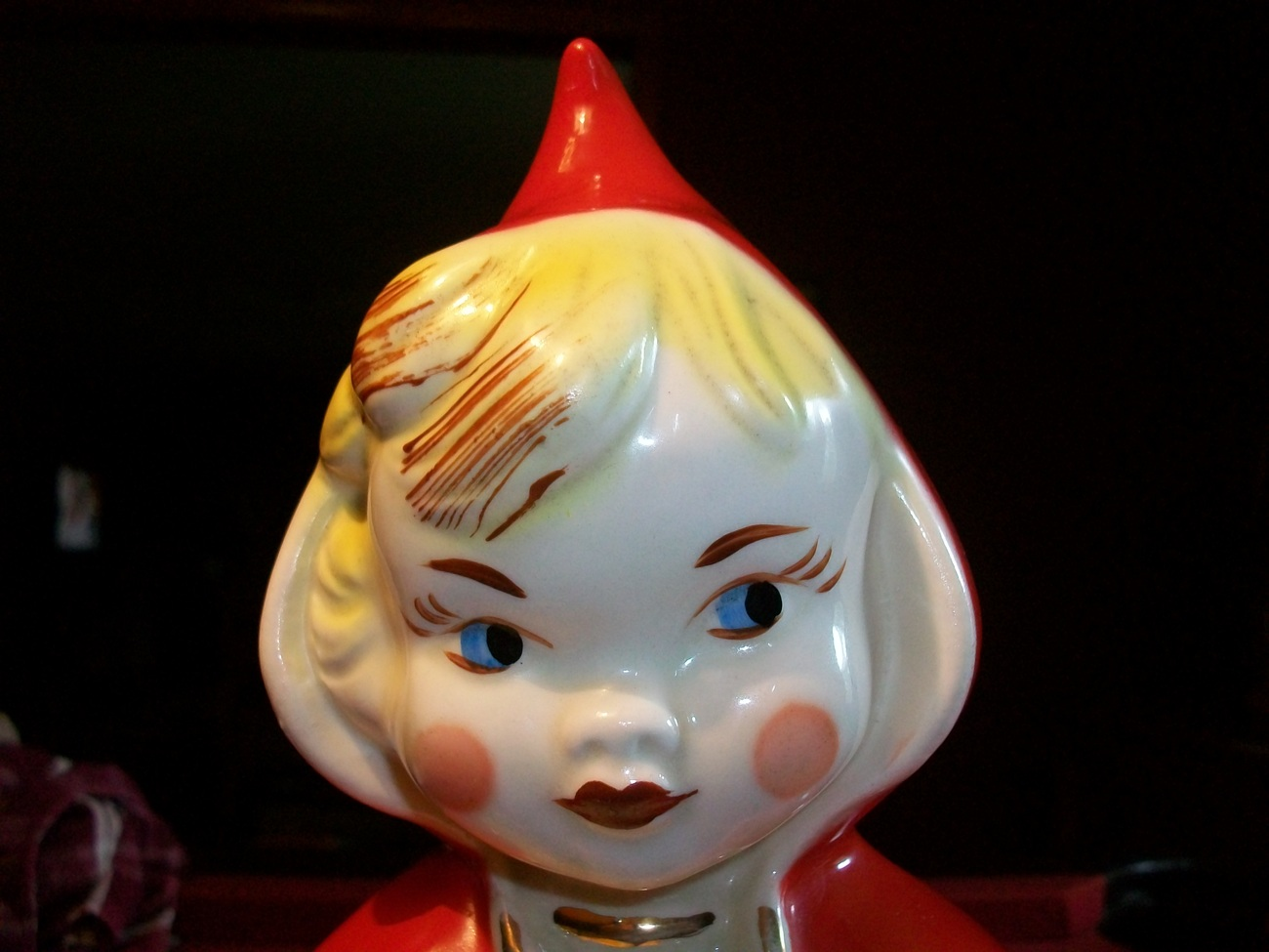 Vintage Regal Little Red Riding Hood Cookie Jar w/ Poinsettias-The Real Deal!!