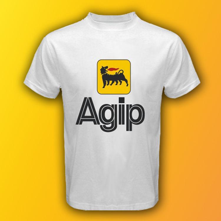 AGIP Racing Oil Logo Moto GP F1 Race White T-Shirt Size S,M,L,XL,2XL,3XL - T-Shirts