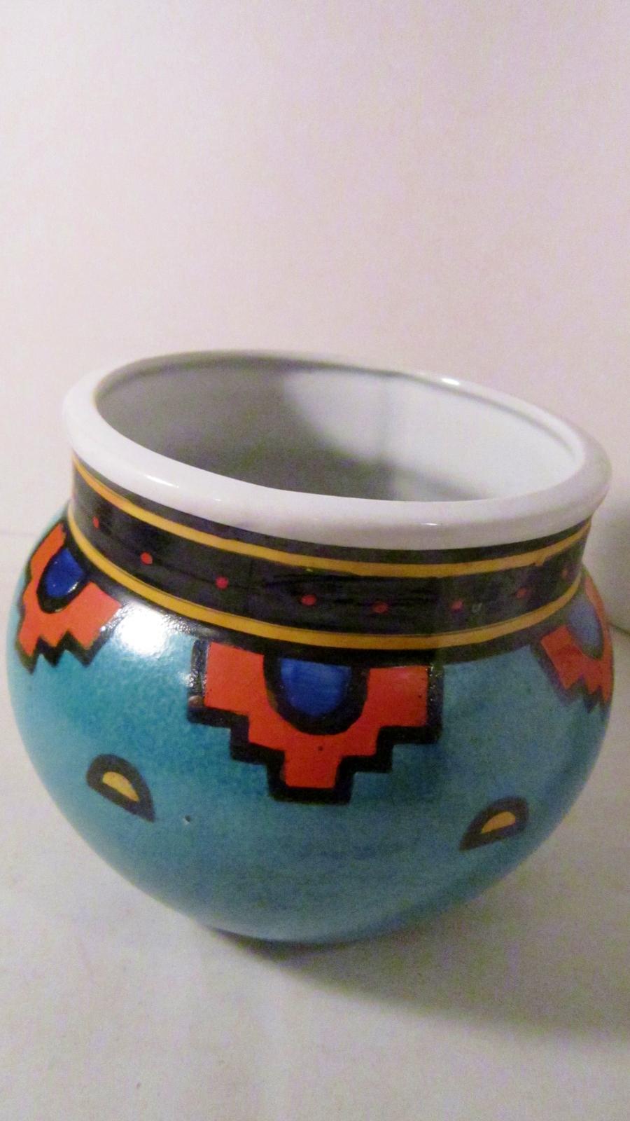 Southwestern style pot turquoise orange pottery 01