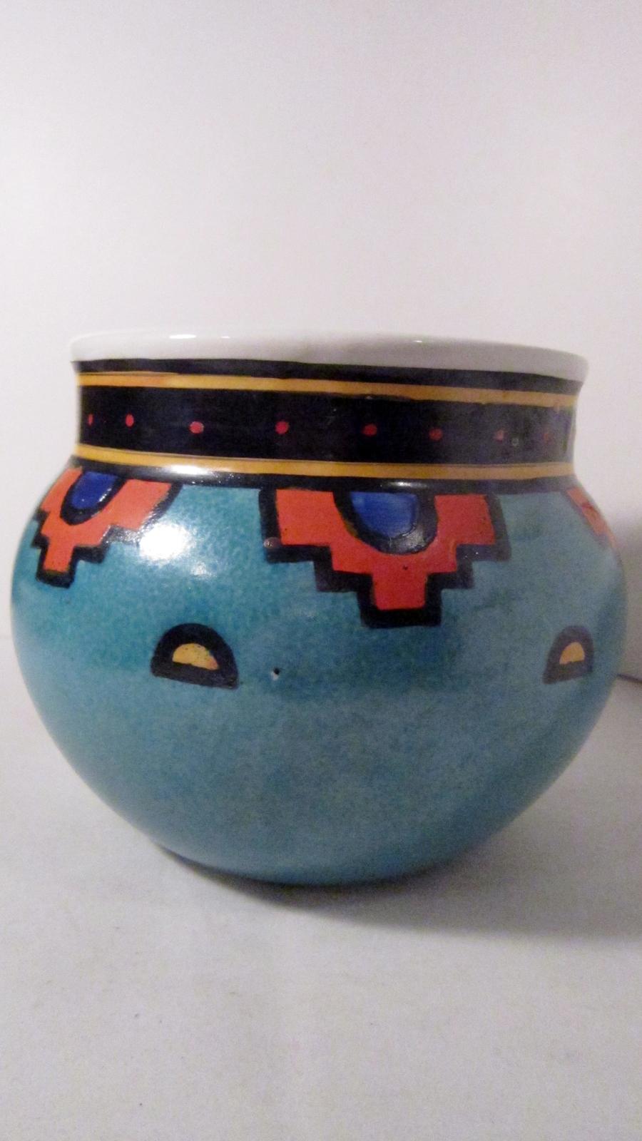 Olla Shaped Pot, Southwestern Style, Bright Turquoise, Orange Pottery