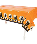 Orange Halloween Tablecloth - Table Cover with witches and Haunted House... - $7.83